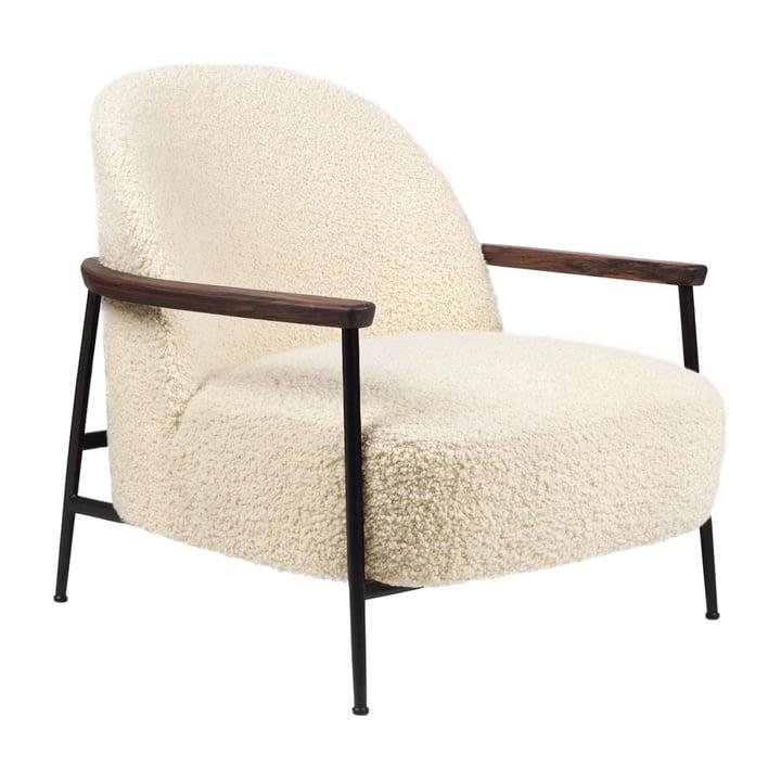 Sejour Lounge Chair with armrests, matt black / walnut by Gubi