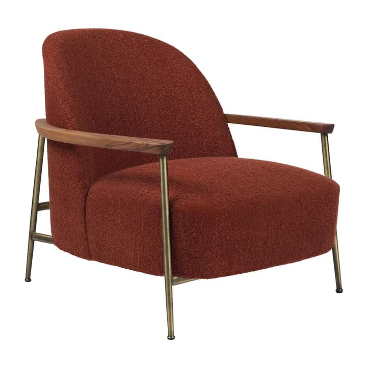 Sejour Lounge Chair with armrests, antique brass / oak by Gubi