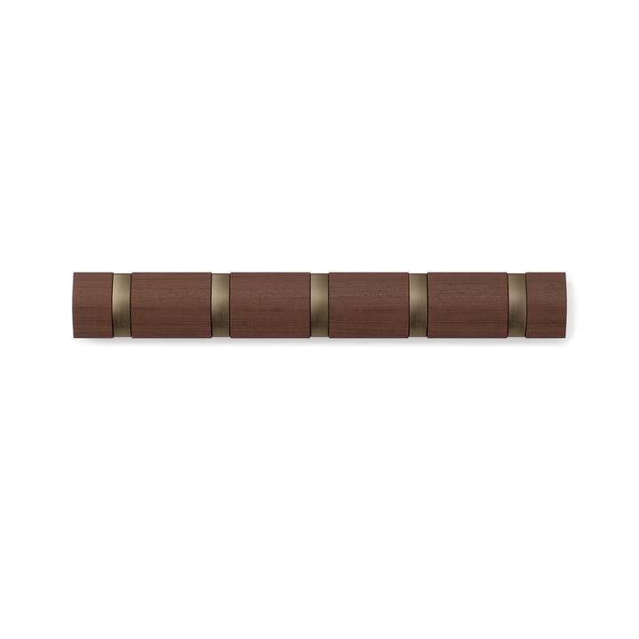 The Flip Hook 5-seater coat rack from Umbra in walnut, light / gold