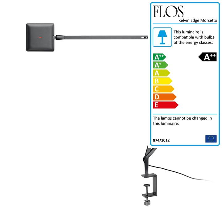 The Kelvin Edge Morsetto clamp lamp from Flos in titanium