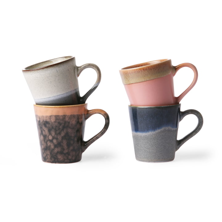 70's Espresso cups (set of 4) 80 ml, multicoloured from HKliving