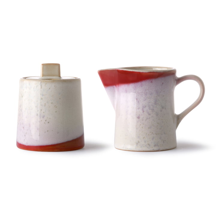 70's Milk and sugar set, ceramic, white / red by HKliving
