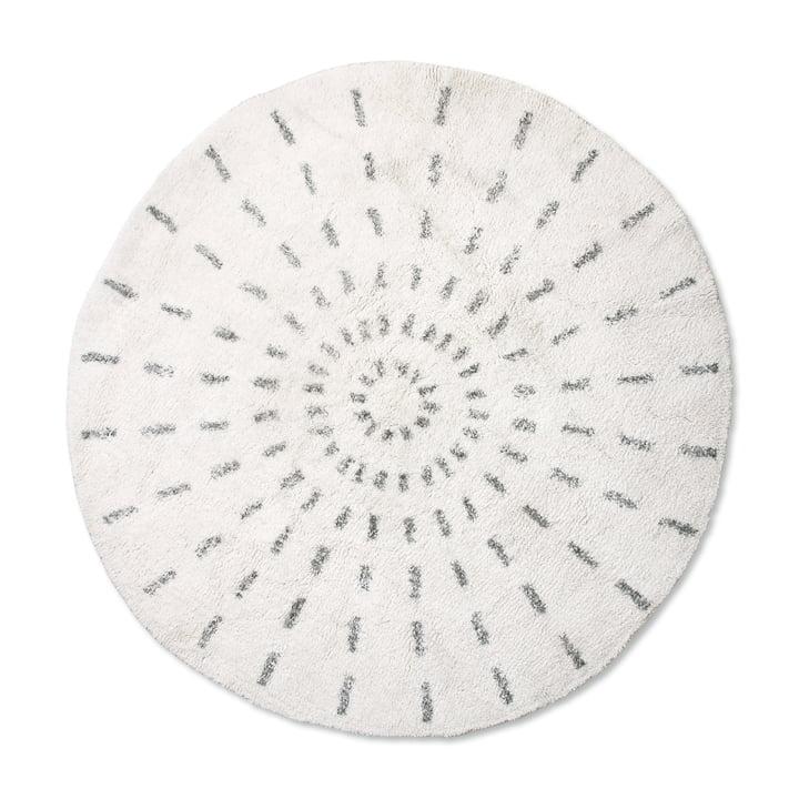 Swirl Bath mat round Ø 120 cm, white / black from HKliving