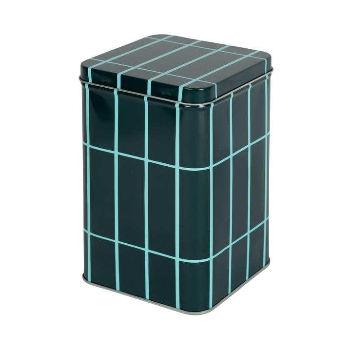 The Tiiliskivi storage box by Marimekko in dark green / turquoise