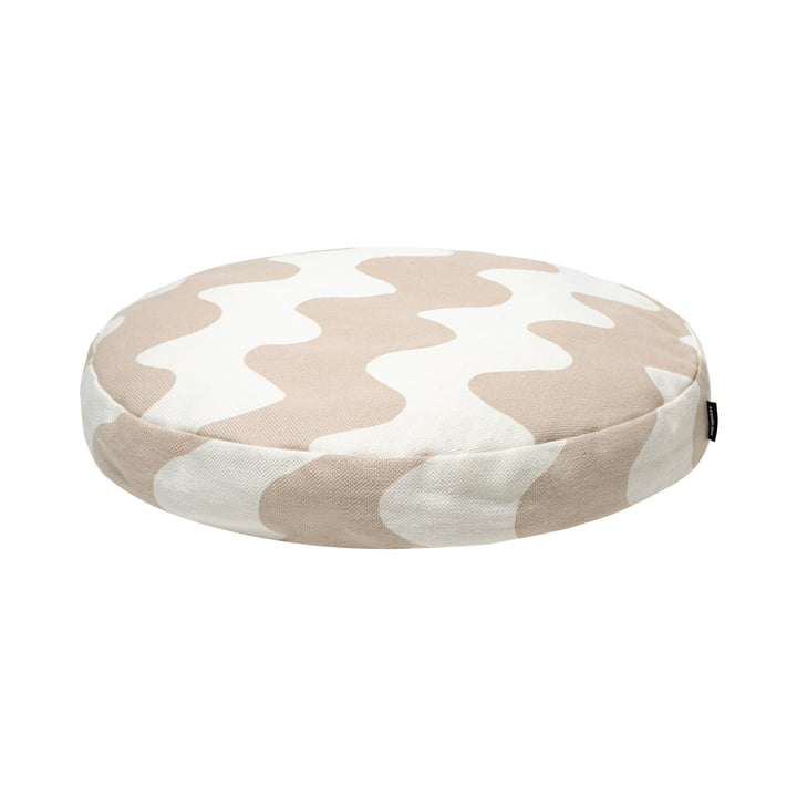 The Pikku Lokki round cushion from Marimekko in white / beige, Ø 43 cm