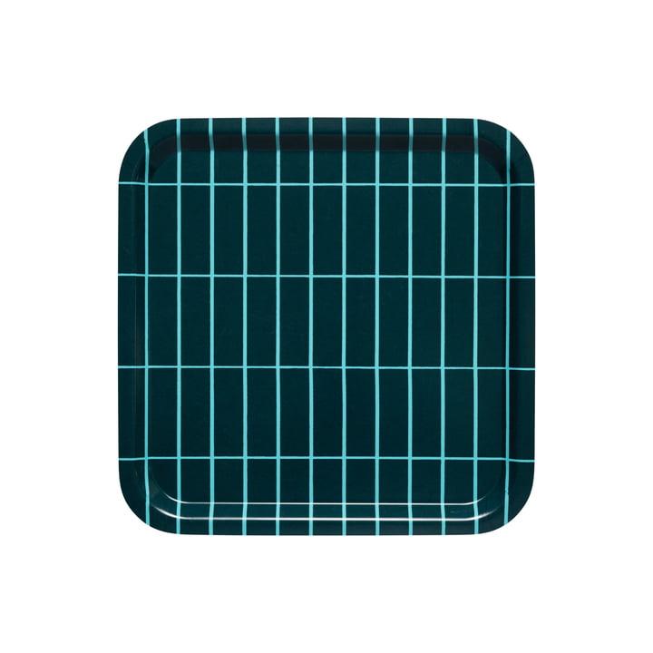 The Tiiliskivi tray by Marimekko in dark green / turquoise