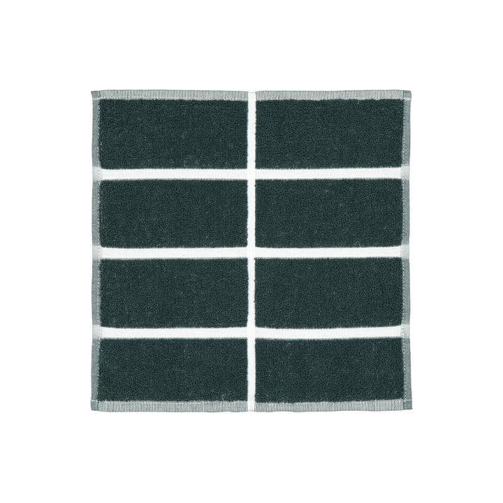 The Tiiliskivi Mini Towel by Marimekko in dark green / sand / brass