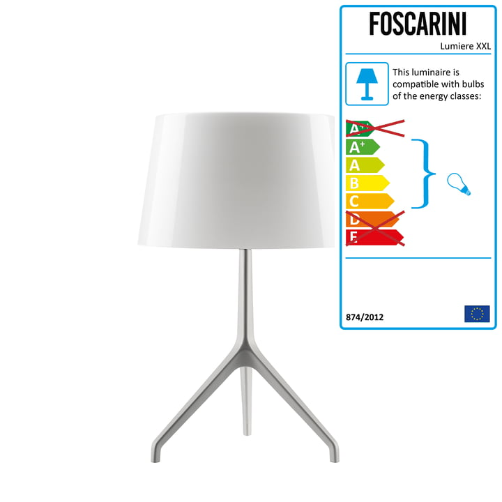 Foscarini - Lumiere XXS Table lamp, aluminium / white