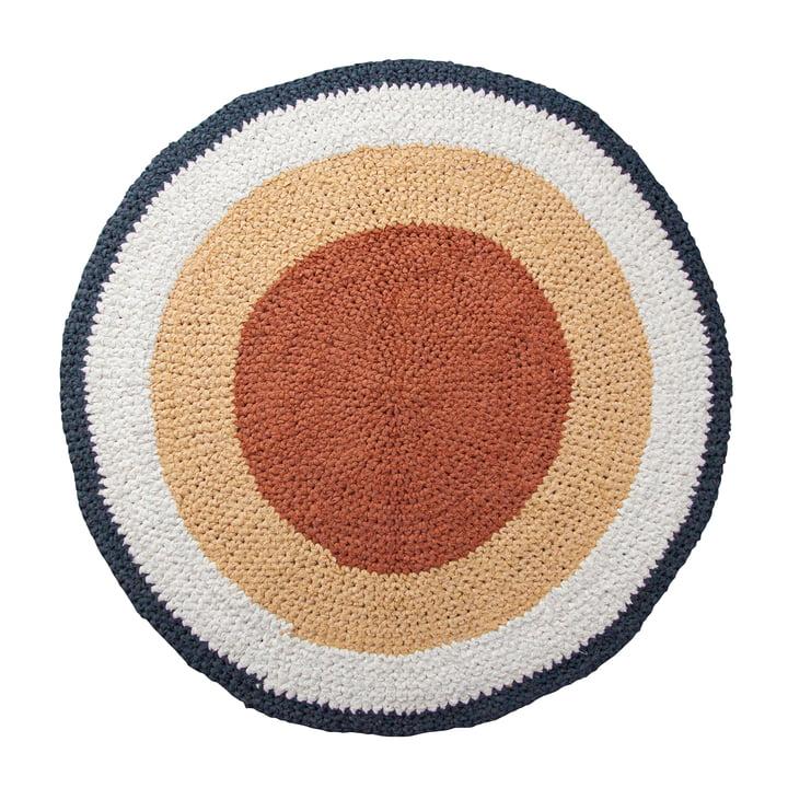 The crochet carpet from Sebra in golden hour yellow, Ø 120 cm