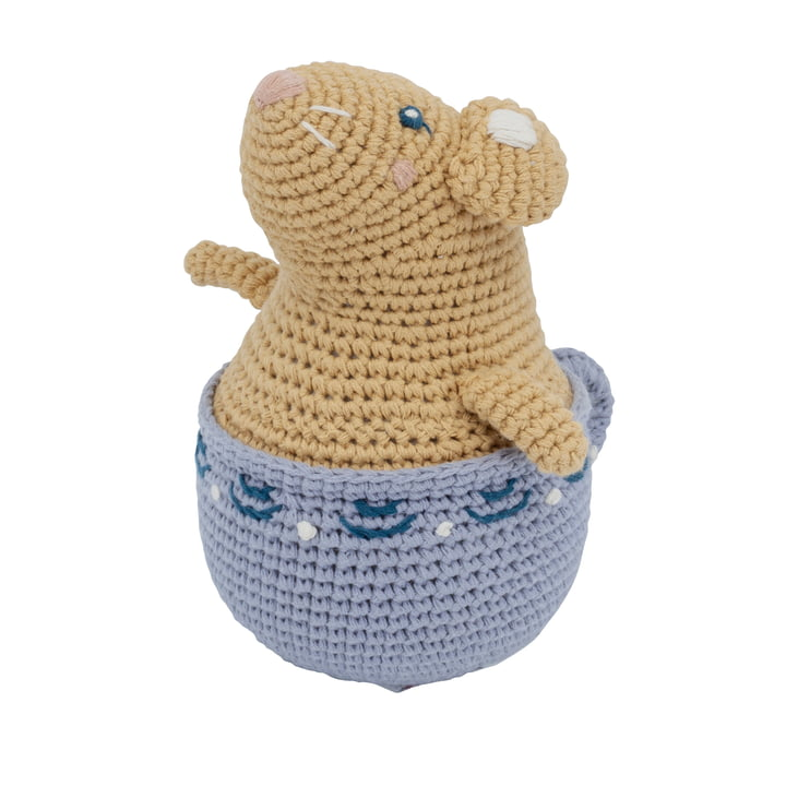 The crochet roly-poly from Sebra as Buttercup the mouse in golden hour yellow