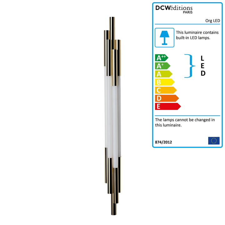 The Org LED wall lamp 1050 by DCW in gold