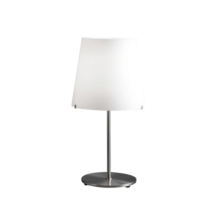 The 3247TA table lamp by FontanaArte in white / nickel, Ø 32 cm, H 60 cm