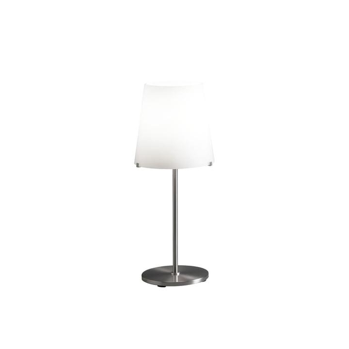 The 3247TA table lamp by FontanaArte in white / nickel, Ø 20 cm, H 46 cm,