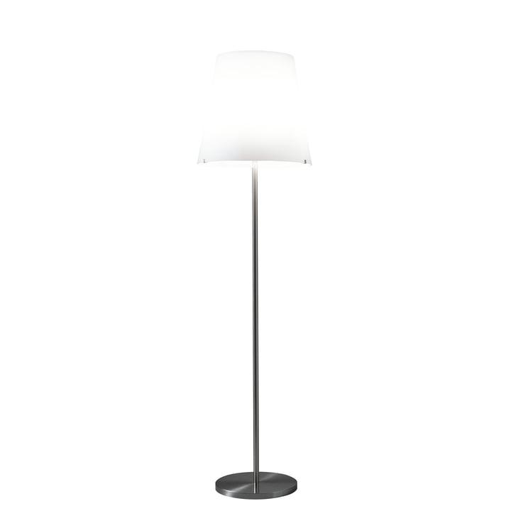 The 3247 floor lamp by FontanaArte in white / nickel, Ø 32 cm, H 150 cm