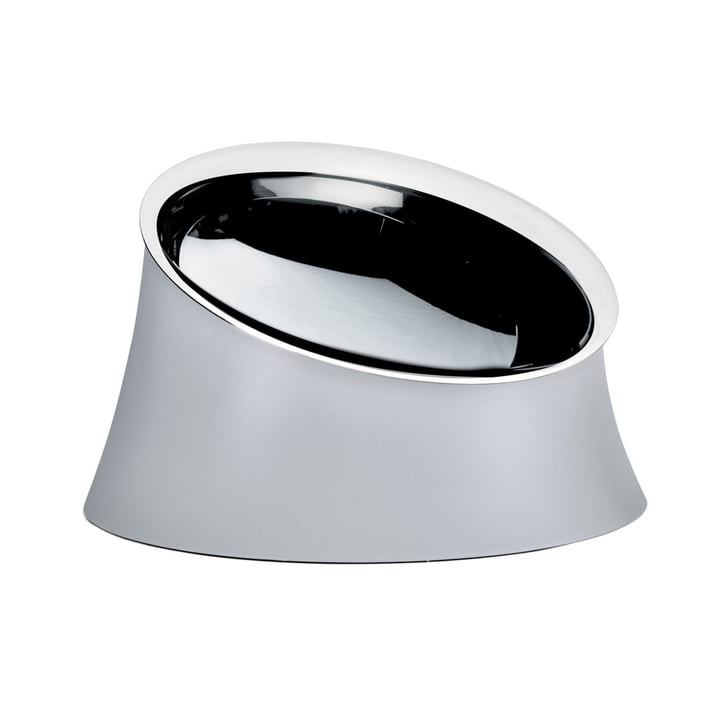 The Wowl dog bowl from Alessi in large, warm grey