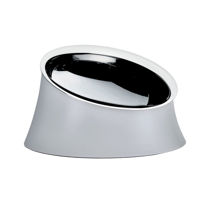 The Wowl dog bowl from Alessi in small, warm grey