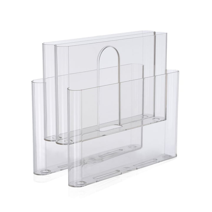 Magazine rack with four pockets from Kartell in transparent