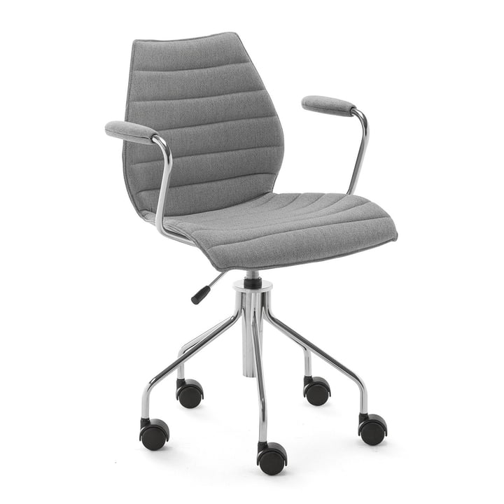 Maui Soft Office chair with armrests and castors, Noma / grey from Kartell