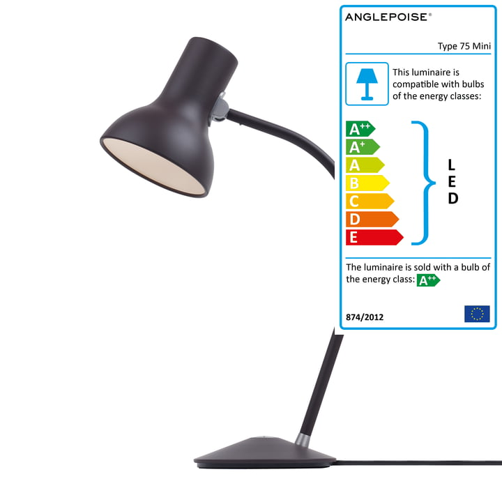 Type 75 Mini Table lamp, black umber by Anglepoise