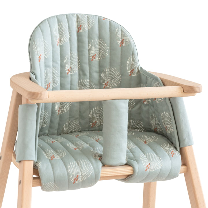 Cushion for Growing Green high chair by Nobodinoz in white gatsby / antique green