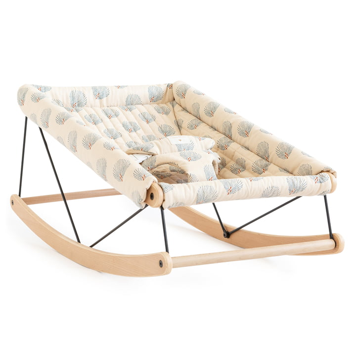 Growing Green Baby bouncer with cushion by Nobodinoz in blue gatsby / cream