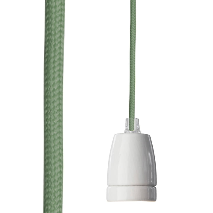 Classic lamp socket from NUD Collection with textile cable in Sea Spray (TT-455)