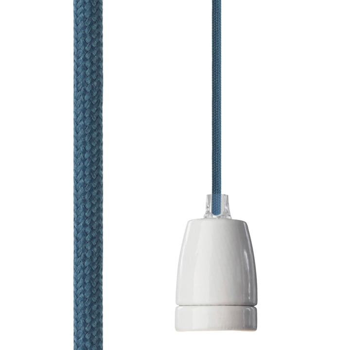 Classic lamp socket from NUD Collection with a textile cable in Indian Teal (TT-353)