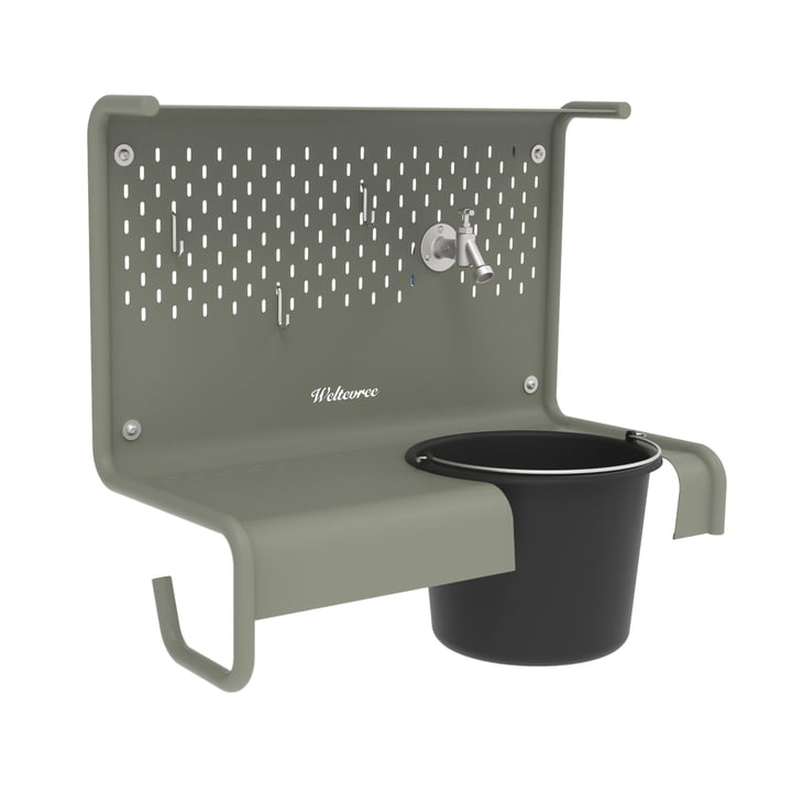 The Waterworks storage table for water tap from Weltevree in cement grey