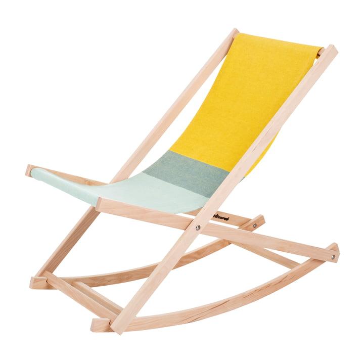 The Beach Rocker rocking chair from Weltevree in green / yellow