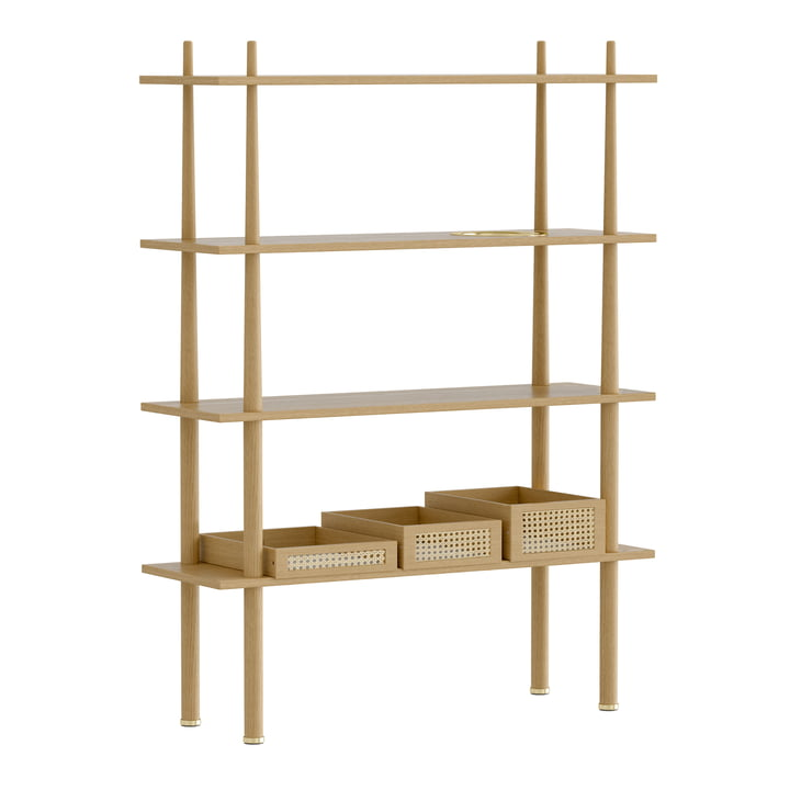 Umage - Stories floor shelf with 4 shelves, brass / oak