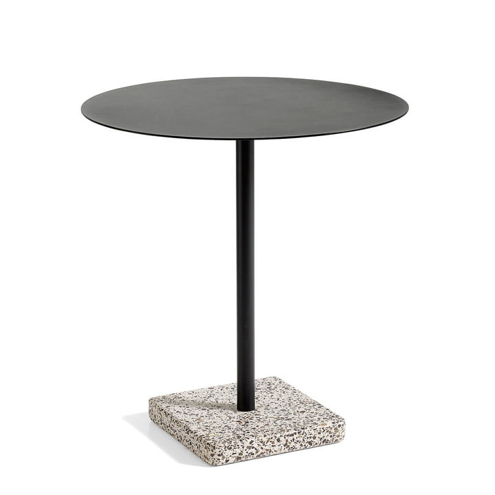 Terrazzo Table round Ø 70 cm, grey/ anthracite from Hay