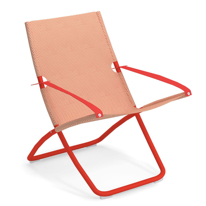 The Snooze Deckchair from Emu in red / peach