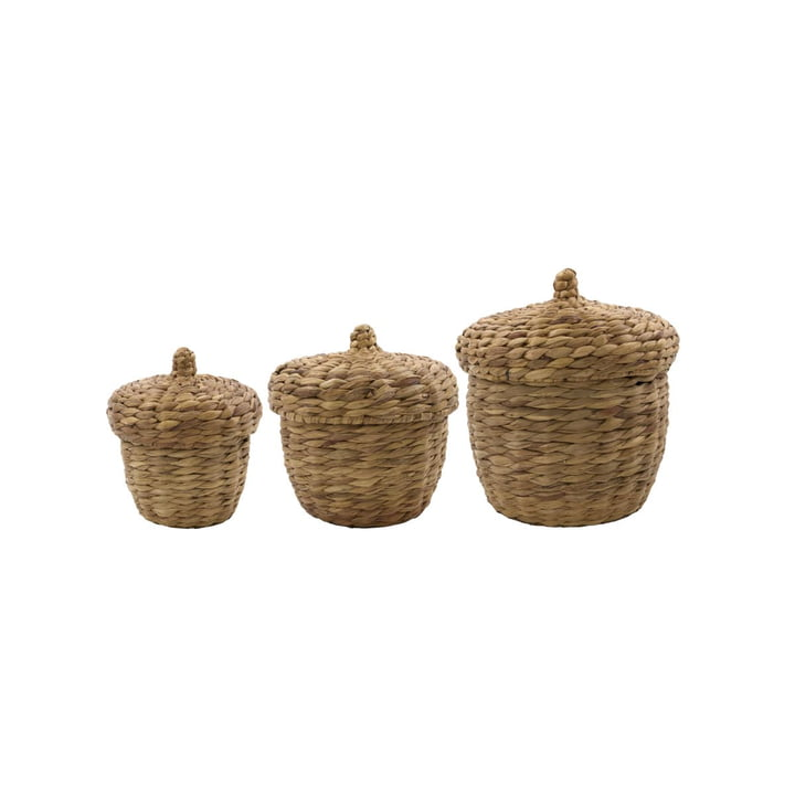The set of 3 Aske storage baskets from House Doctor in natural, Ø 33 cm, H 33 cm