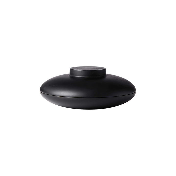 Wooden Galaxy Storage Ø 16 x H 7 cm, black oak by Kristina Dam Studio consists of two wooden bowls turned from European wood, which combine to form a stylish galaxy.