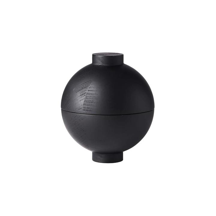 Wooden Sphere Storage Ø 12 x H 15 cm, black oak from Kristina Dam Studio