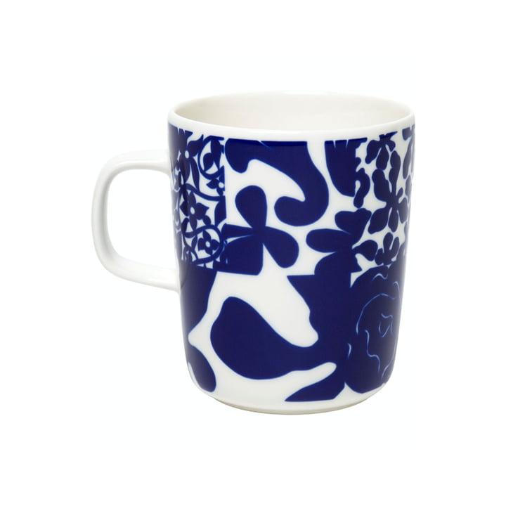 The Ruudut mug with handle by Marimekko, 250 ml, white / blue