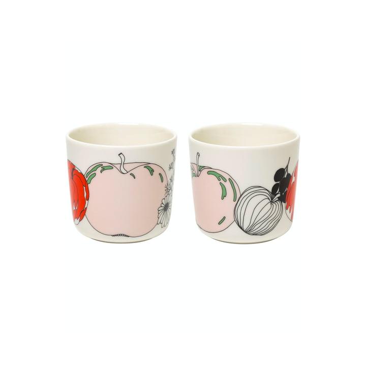 The Tarhuri mugs by Marimekko (set of 2), 200 ml, white / red / green