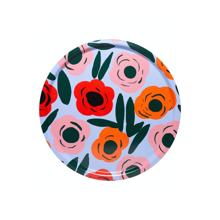 The Ruukku Tray round by Marimekko, Ø 31 cm, light blue / red / dark green