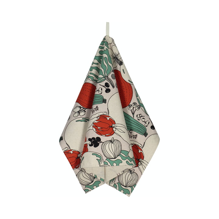 The Vihannesmaa tea towel from Marimekko in cotton white / red / green