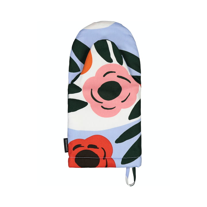The Ruukku oven glove from Marimekko, light blue / red / dark green