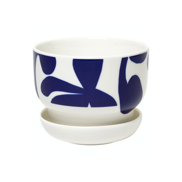 The Ruudut flower pot from Marimekko in white / blue