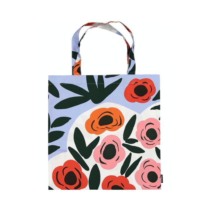 The Ruukku shopping bag by Marimekko, light blue / red / dark green