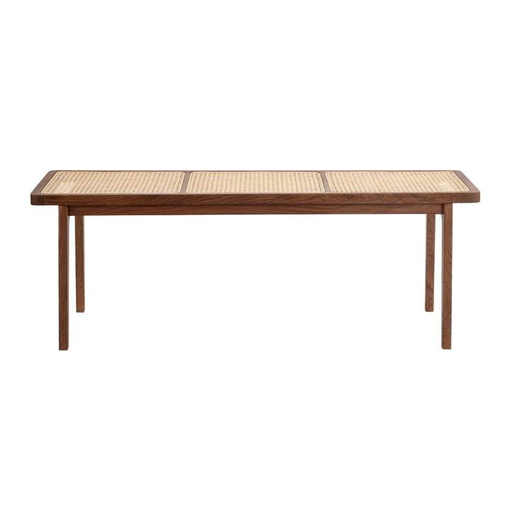 Norr11 - Le Roi Bench with wickerwork, dark stained oak