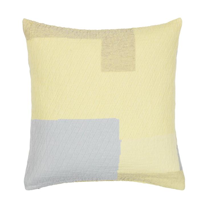 Broste Copenhagen - Patch Pillowcase, 60 x 60 cm, yellow / grey