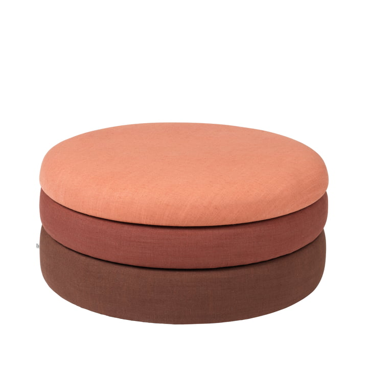 The Pond pouf from Broste Copenhagen in rustic shades, Ø 38 x H 42 cm