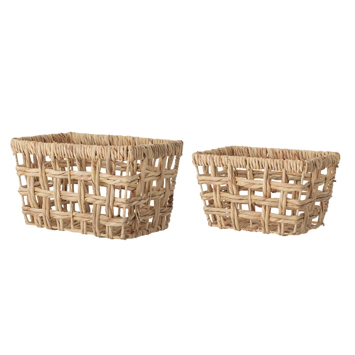 Bloomingville - Storage basket water hyacinth, angular, small, natural (set of 2)