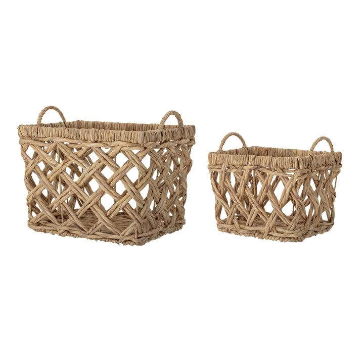Bloomingville - Storage basket water hyacinth, angular, large, natural (set of 2)