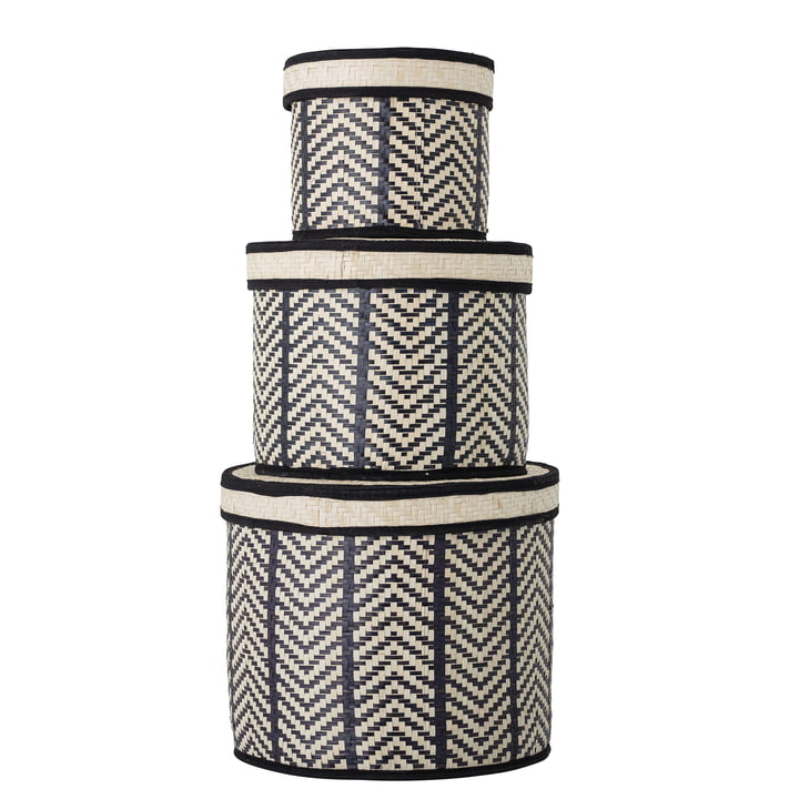 The palm leaf lay-out basket set from Bloomingville , black (set of 3)