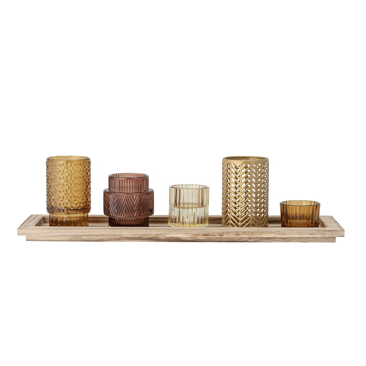 The tealight holder set from Bloomingville , brown (6 pcs.)