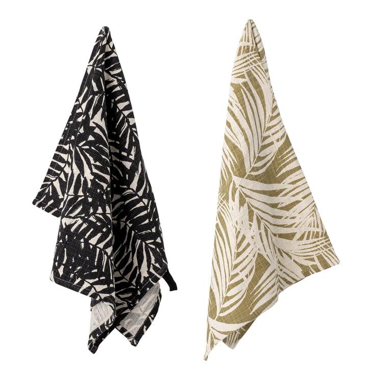 The Ivora tea towel from Bloomingville , 45 x 75 cm, black / beige (set of 2)